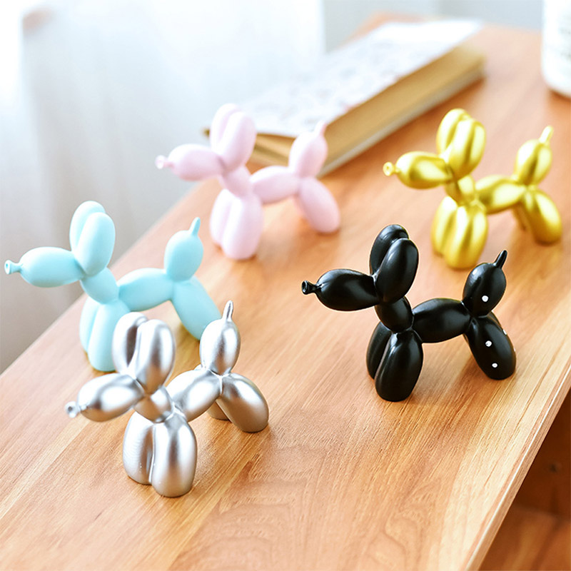 Resin Crafts Sculpture Gift Cute Small Balloon Dog Party Accessories 5 Colors Home Desktop Ornament Cake Dessert Decoration Tool