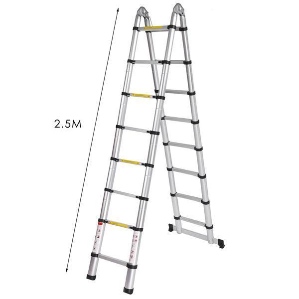 Telescopic Ladder Folding Step Aluminum Retractable Tall Herringbone Multi-Purpose