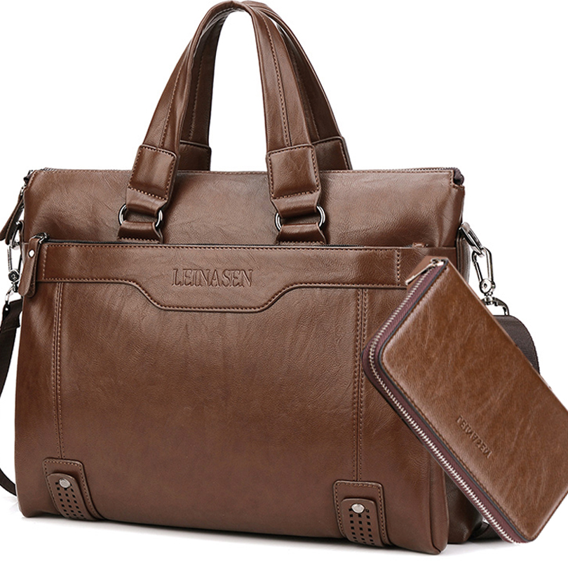 Briefcase Men Bag Business Case Soft Leather Work Bag Waterproof 14 Inch Laptop Bag Leather Men Brown Large Mans Bags Sac Cuir