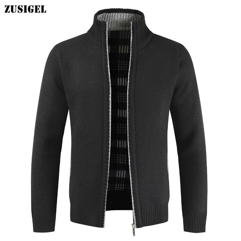 ZUSIGEL 2019 Autumn Winter Solid Casual Cardigan Men Sweaters Mandarin Collar Loose Zipper Mens Sweaters Male Knit Sweater Coat