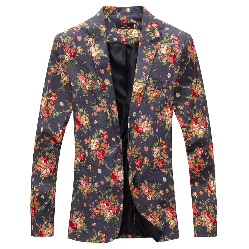 2019 New Style Korean-style Slim Fit 3D Cutting Men Suit Men's Floral-Print Suit Jacket Men Bla