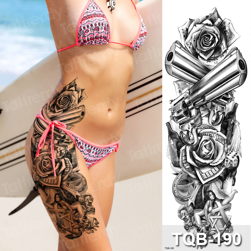Large Temporary Tattoos Rose Gun Flower Fox Eye Tatoo Sleeve Women Sexy Body Stickers Thigh Legs Tattoo Black Water Transfer