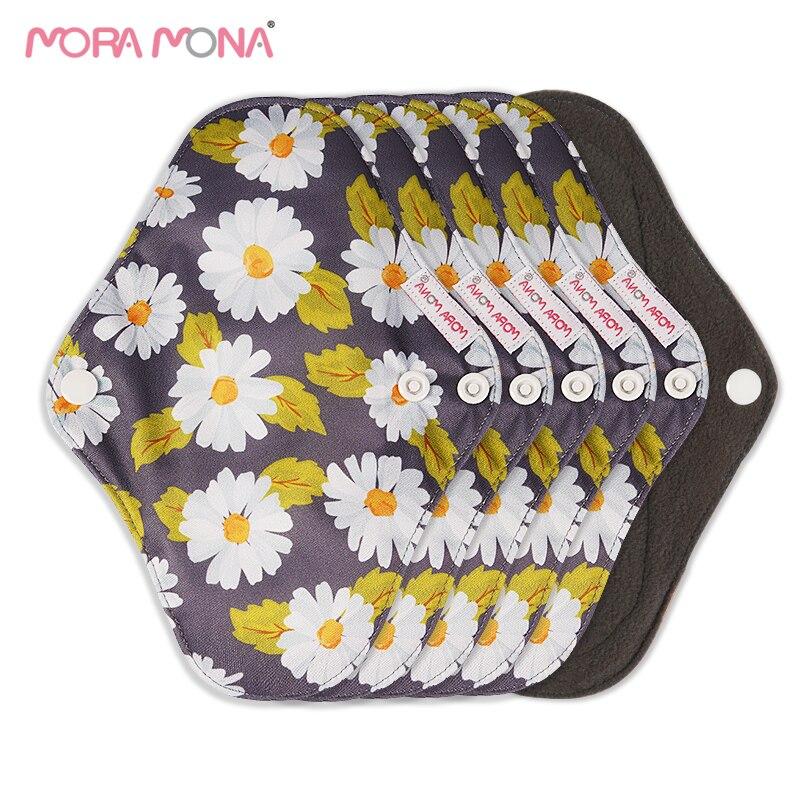 Mora Mona 6Pcs/Set Small Daily Bamboo Charcoal Menstrual Pads Reusable Washable Sanitary Napkins With Wings