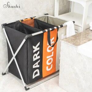 Image 5 - Shushi Лидер продаж, водонепроницаемый органайзер для белья с тремя ячейками, корзина для грязного белья для ванной, складная корзина для игрушек для дома