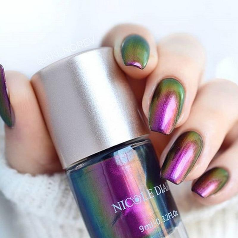 NICOLE DIARY Iridescent Flakies Chameleon Nail Polish Wonderworld Series Sequins Nail Art Varnish  Tips Color 9/6ml