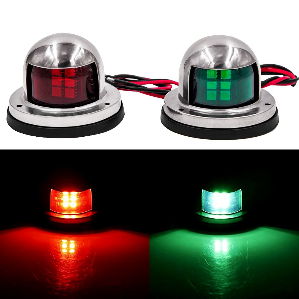 1 Pair Navigation Light Stainless Steel 12V LED Bow Warning Light Red Green Sailing Signal Light For Marine Boat Yacht Lamp LED