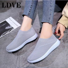 TXJ Women Sneakers Female Knitted Vulcanized Shoes Casual Slip On Ladies Flat Shoe Mesh Trainers Soft Walking Footwear