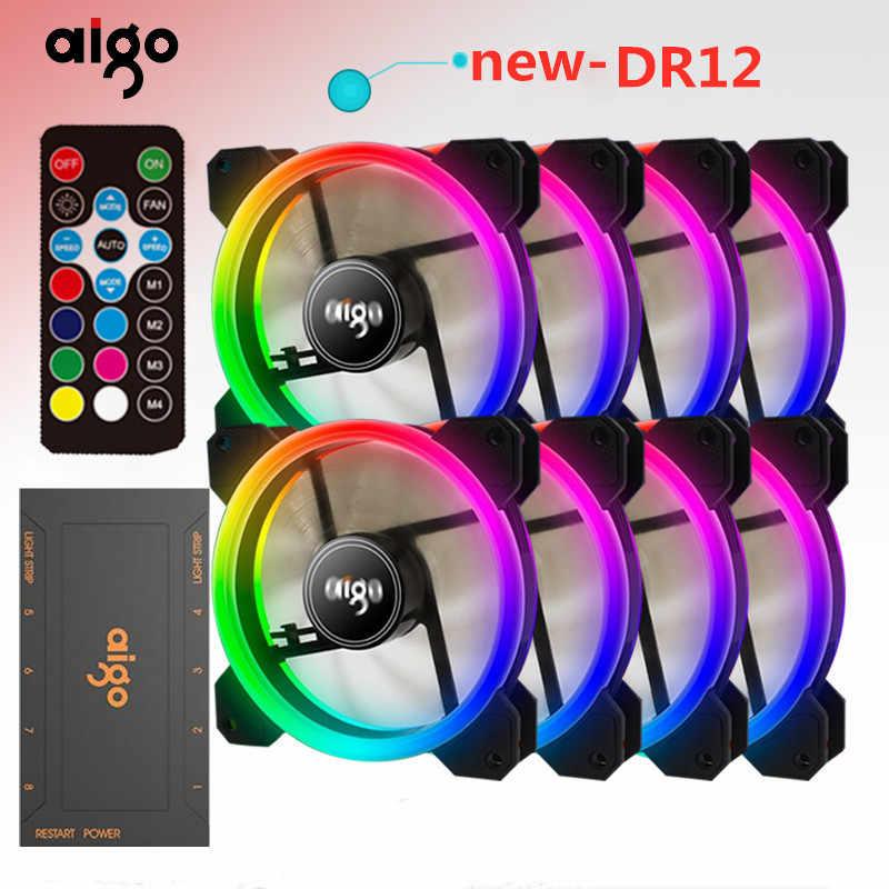Aigo DR12 bilgisayar kasası PC soğutma fanı ışık çubuğu RGB ayarlamak LED 120mm sessiz + IR uzaktan soğutucu Fan işıkları lamba şeritleri