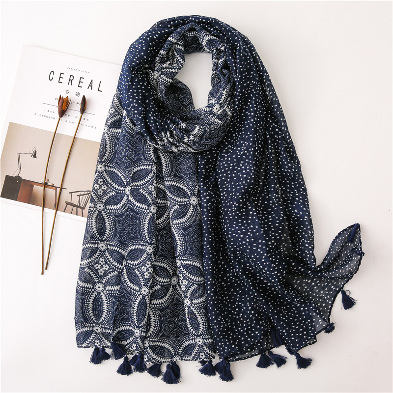 2020 Fashion Navy Blue Floral Patchwork Tassel Viscose Shawl Scarf High Quality Wrap Pashminas Stole Bufandas Muslim Hijab Snood