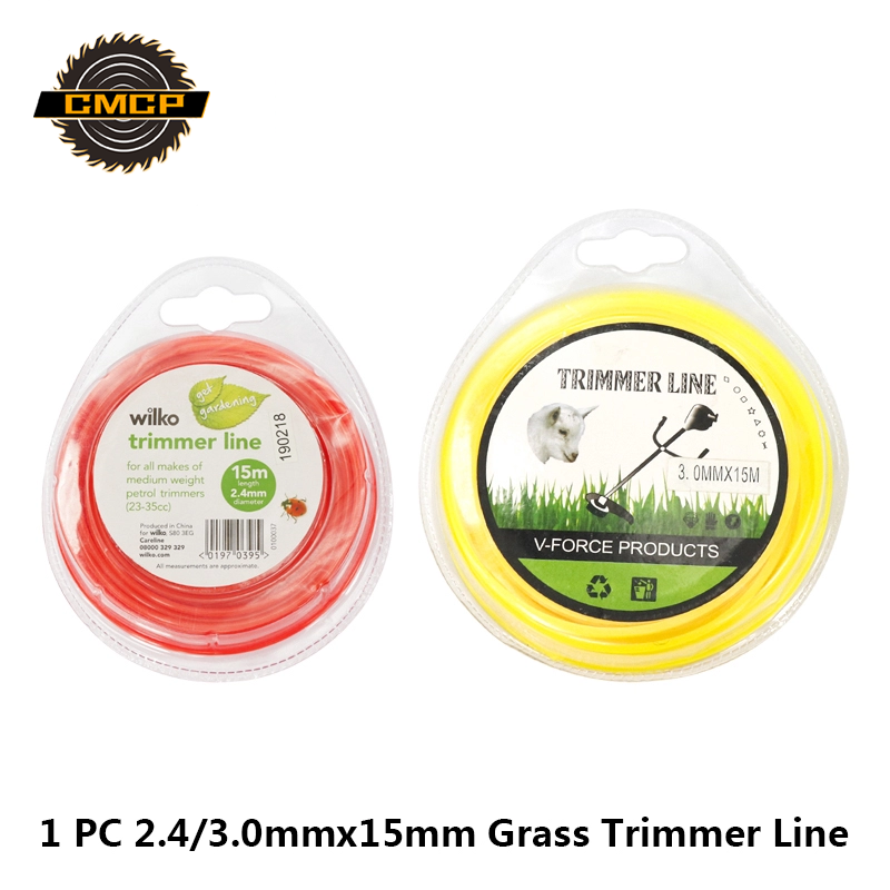CMCP Grass Trimmer Line 2.4/3.0mm 15M Strimmer Brushcutter Trimmer Nylon Round Roll Grass Rope Line For Power Grass Weed Cutting