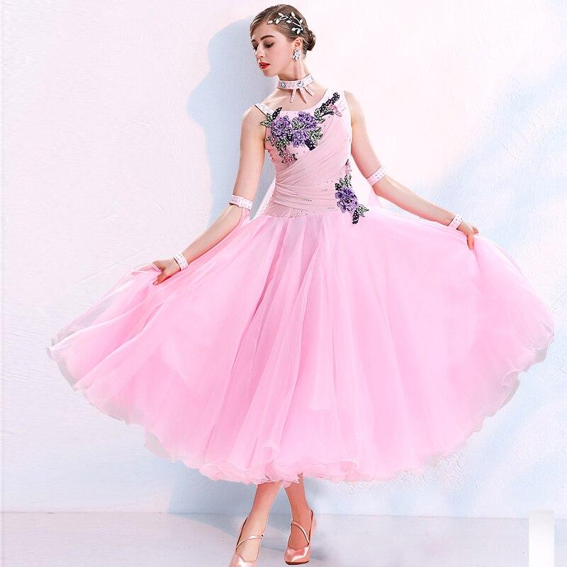 Modern dance dress women one piece dress off shoulder professional competition dress ballroom dance long dress MQ292