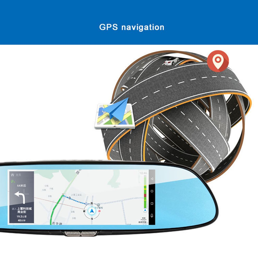 H10 Car DVR 3G Rearview Mirror Video Recorder 7 inch Touch Screen 1080 FHD Dual Camera Hand free FM Transmission