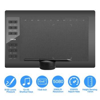 10x6 Cal profesjonalny Tablet graficzny do rysowania 12 klawiszy ekspresowych z 8192 poziomami bez baterii Stylus/obsadka do pióra/8pc stalówki/Pen Clip