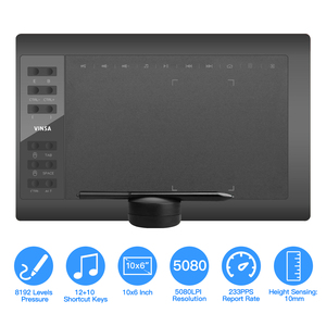 10x6 Inch Professional Graphics Drawing Tablet 12 Express Keys with 8192 Levels Battery-Free Stylus/Pen Holder/8pc Nibs/Pen Clip