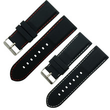 18 20 22 24 26 28 mm 1pc Black Silicone Rubber Waterproof Watch Band Strap With Black/White/Red Line Stitching