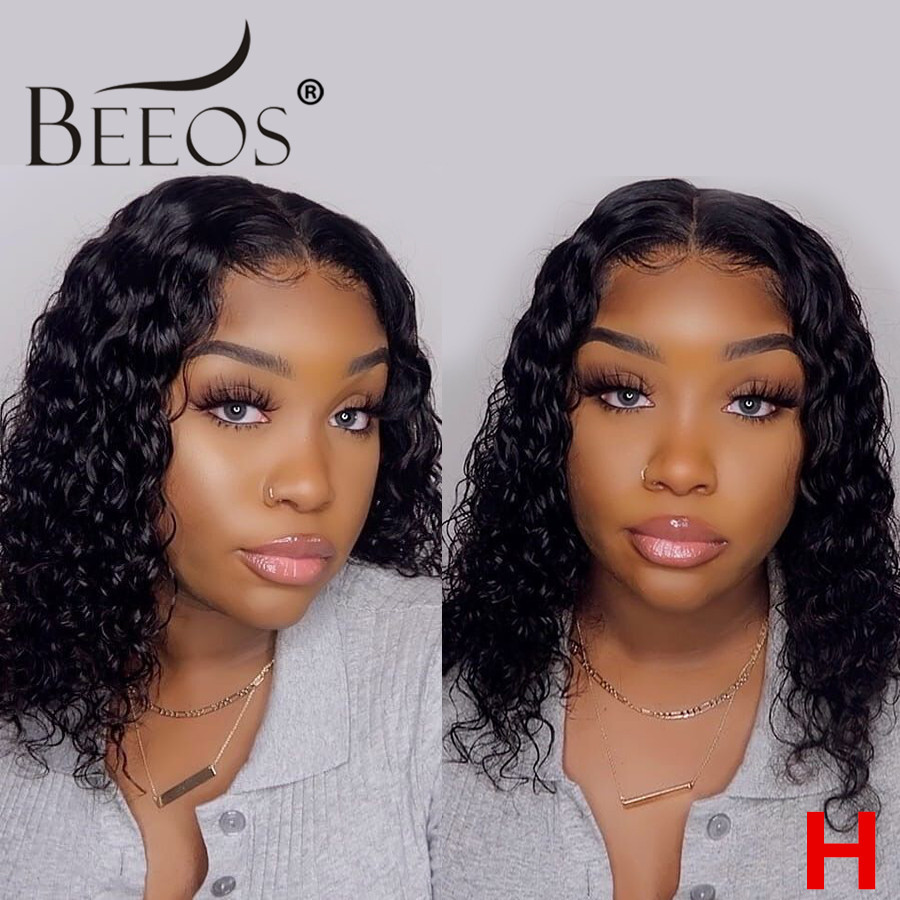 Beeos Curly 130% 13*6 Lace Front Human Hair Wigs Pre-Plucked Brazilian Remy Hair Lace Wig With Baby Hair Bleached Knots