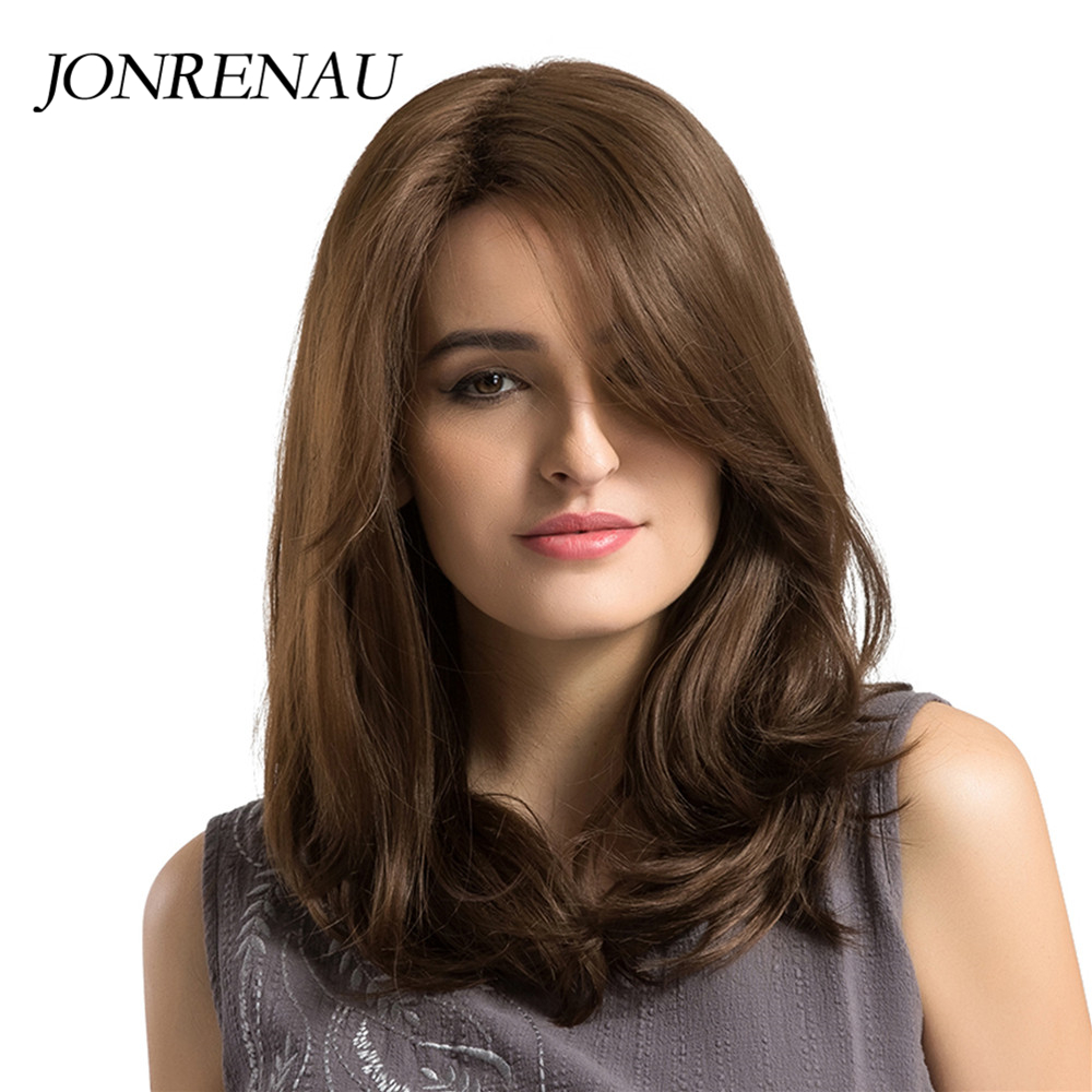 JONRENAU Heat Resistant Long Natural Wave Hair Synthetic Brown Hair Wigs With Bangs For White/Black Women