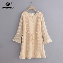 ROHOPO Flared Long Sleeve Elbroidery Tassel Round Collar Polk Dot Mini Dress Belted Ladies Double Layer Cotton Robe #9860