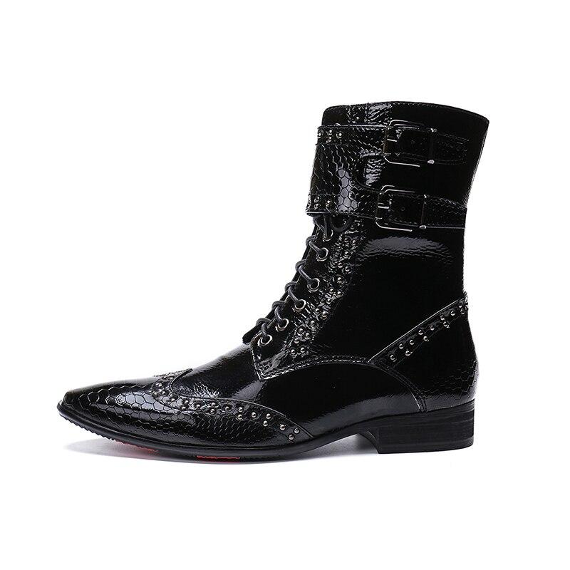 Hommes européens bottes hautes au genou noir haut travail clouté bottes de Cowboy Python peau à lacets chaussures de moto homme Zapatos Hombre
