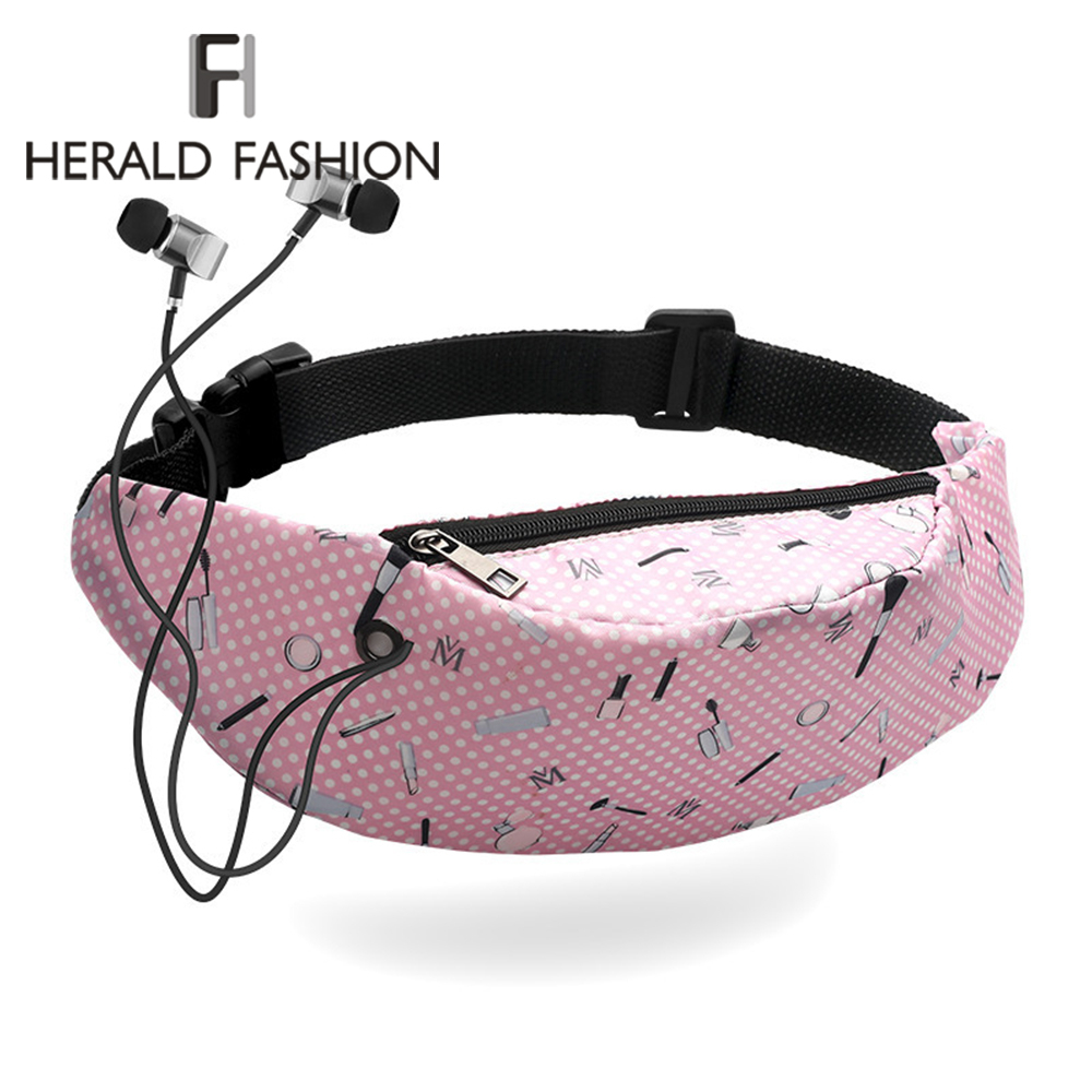 Herald Fashion Pattern Print Waist Bags Girls Fanny Packs Belt Bags Women Travelling Sports Fitness Mobile Phone Bag Waist Packs