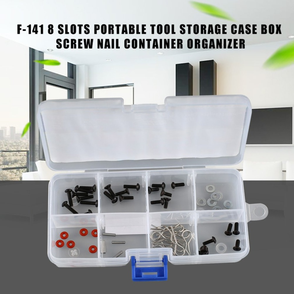 8 Slots Cells Portable Tool Box Electronic Parts Screw Beads Ring Component Box Plastic Storage Box Container Holder Dropship