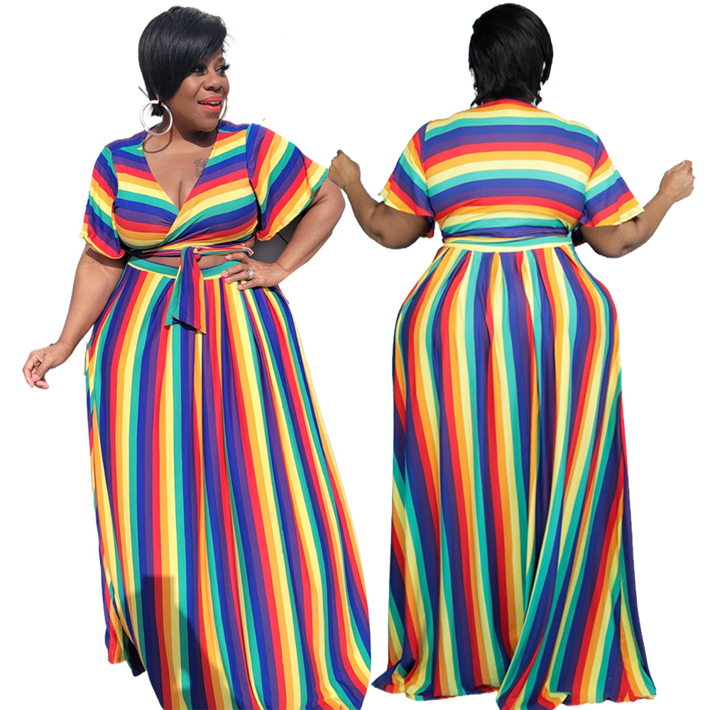 2 Piece Set Women Clothing Rainbow Stripes Sexy V Collar Bandage Tops Loose Skirts Plus Size Suit 3xl 4xl Wholesale Dropshipping