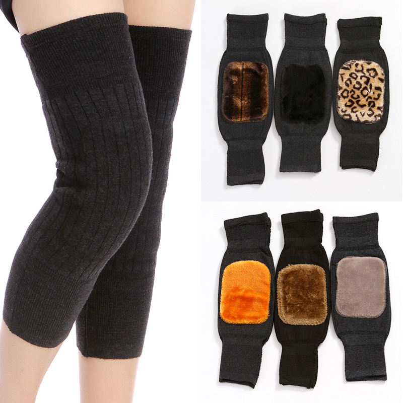 Unisex Thick Warm Wool Kneepad Cashmere Knee Protector Windproof Coldproof Leg Warmers For Women Men