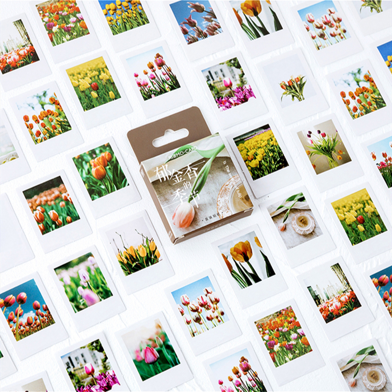 46pcs The Season Of Tulip Stickers Set 44mm Mini Flower Sticker For Decoration Seal Adhesive Album Diary Student Kids Gift A6384