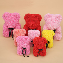 35cm Send Girlfriend Teddy Rose Bear Simulation Wreath Valentine's Day Birthday Gift Rose Decoration