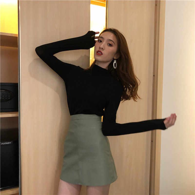 Hi Girl 新春すべての一致 Tシャツハーフタートルネック長袖 Tシャツ薄型スリム無地シックなベーシック Tシャツトップス Tシャツ女性