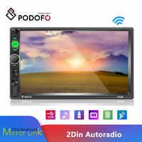 "Podofo 7 ""Autoradio 2 din Auto Radio Bluetooth MP5 Multimedia Player 2 Din Auto Audio Radio Stereo MirrorLink Kassette recorder"
