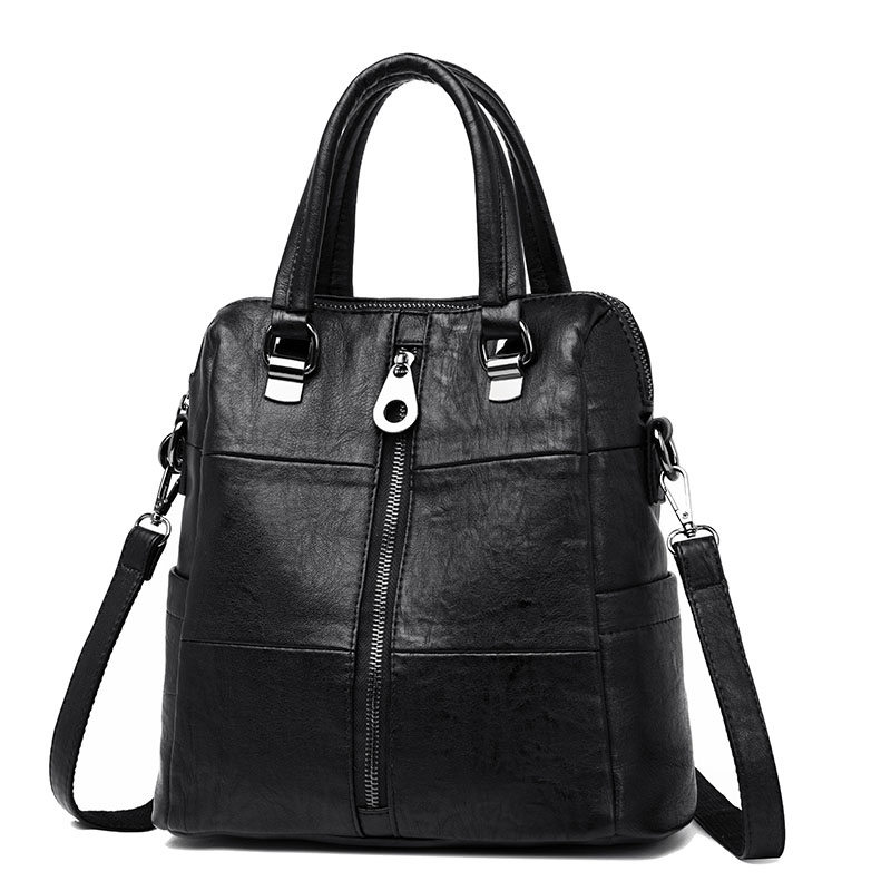 3 in 1 Women Leather Backpacks Vintage Female Shoulder Bag Sac a Dos Travel Ladies Bagpack 3-in-1 Women Leather Backpacks Vintage Female Shoulder Bag Sac a Dos Travel Ladies Bagpack Mochilas School Bags For Girls Preppy