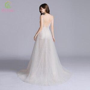 Image 2 - SSYFashion New Sexy Long Evening Dress Deep V neck Sleeveless Backless Lace Flower Beach Prom Formal Gown Vestido De Fiesta