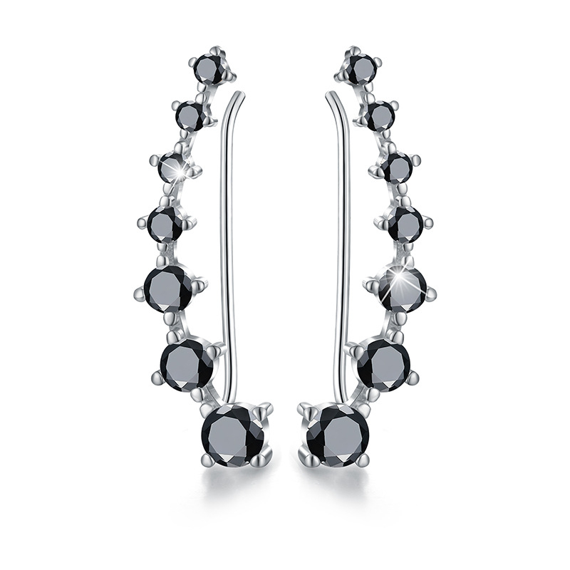 2020 New 925 Sterling Silver Jewelry Engagement Drop Earrings For Women Black Spinel Female Earring Gift I129