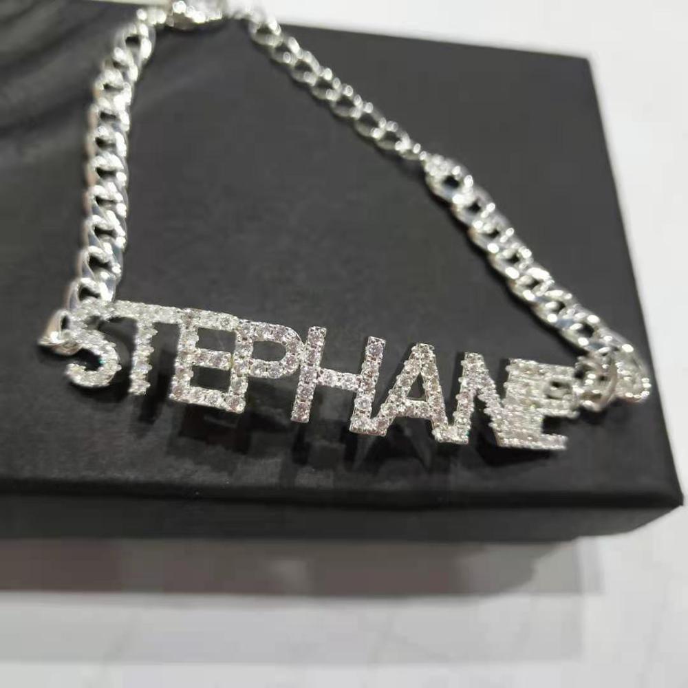 DOREMI Crystal Pendant Letters bracelet for Women Custom Jewelry Custom Name bracelets Numbers Personalized Zirconia Cuban Chain