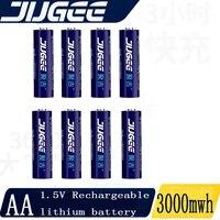 Jugee 1.5v 3000mWh AA batteria ai polimeri di litio ricaricabile Li-polymer Li-ion Alternativa nichel-idrogeno batteria senza caricatore