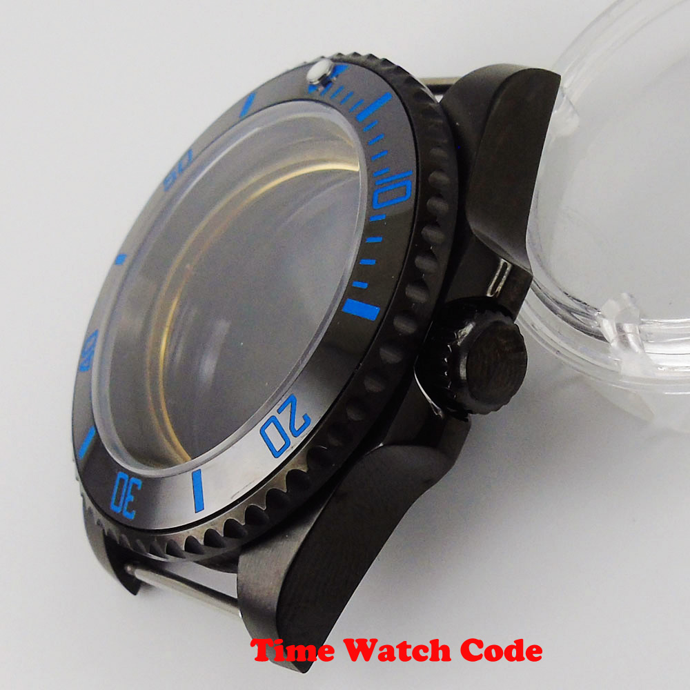 Alta qualidade 40mm preto relógio masculino caso