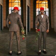 Wedding-Tuxedos Groom Wear Mens Party-Blazer Jacket--Pants Slim-Fit Customized Pinstripe