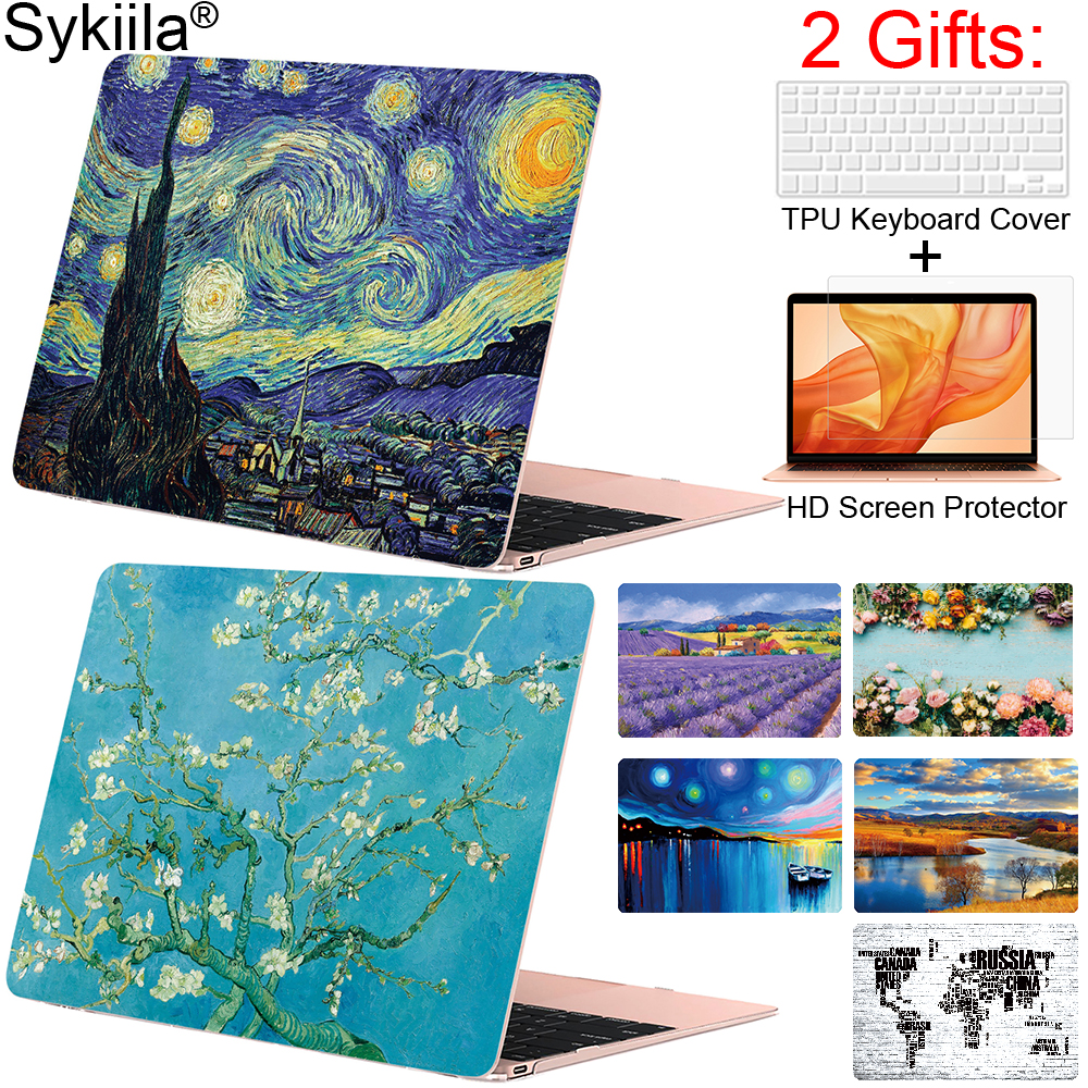 Macbook Air Case | Case For Macbook Air 13 11 Pro 13 15 16 12 Cover Art Paint Shell A1989 A2159 A2179 Touch Bar 2020 Gogh Marble Cute A2251 A2289