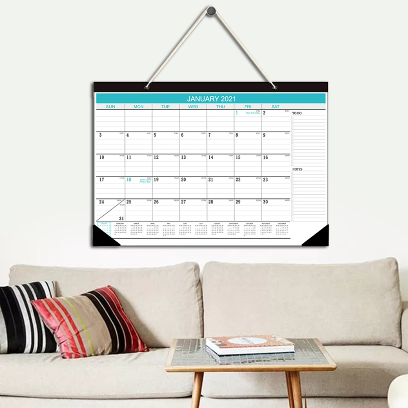 "2021 Wall Calendar January 2021 - December 2021 12""x16.9"" Blue Multi-function Timetable Plan 4"