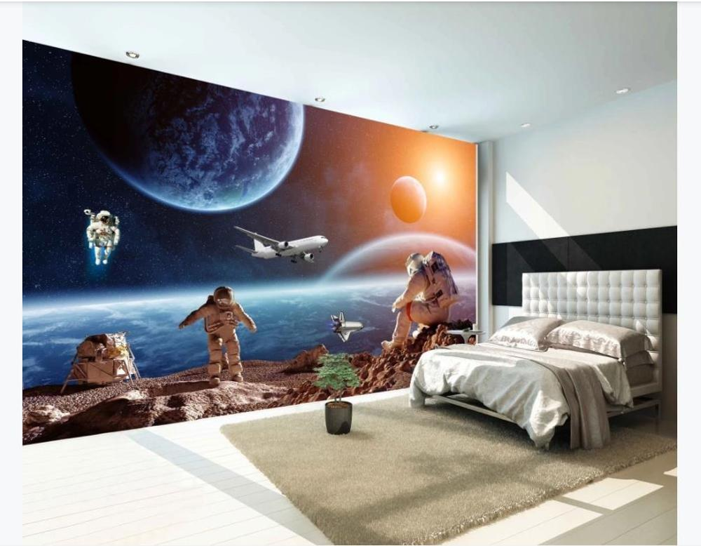 Photo Custom mural wall paper Space Look Earth Creative Starry Space Galaxy Astronaut Planet Background wallpaper