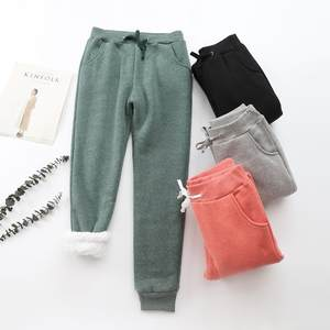 BEFORW Casual Pants Long-Trousers Warm Plus-Size Winter Women Loose Thick Female Lambskin
