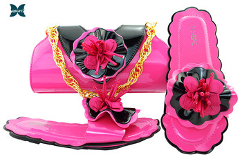 Matching Shoes and Bag Set Fuchsia Color Italian design Ladies Shoe and Bag Set Decorated with Rhinestone African Party Shoes