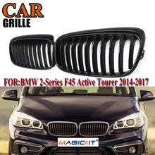 MagicKit Gloss Black Kidney Grilles for BMW 2-Series F45 Active Tourer 2014-2018 Pre-facelift Front Bumper Center Wagon Grille
