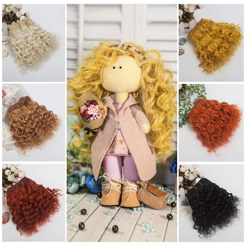 1 peça extensão de lã tramas de cabelo caqui amarelo cor vermelha encaracolado perucas de cabelo para bjd/sd/american doll diy perucas