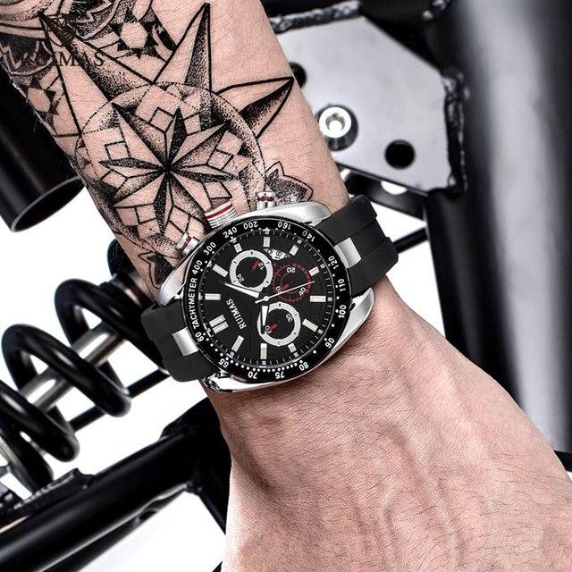 Ruimas Men Watches Chronograph Silicone Strap 541