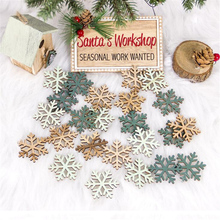 24pcs Christmas Decorations Angel Elk Snowflake Wooden Chip tree DIY Hanging Pendant Xmas Party Decor for Home
