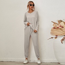 2021 autumn two peice set for women new loose solid color long-sleeved casual pants suit winter  women's two piece outfits Full
