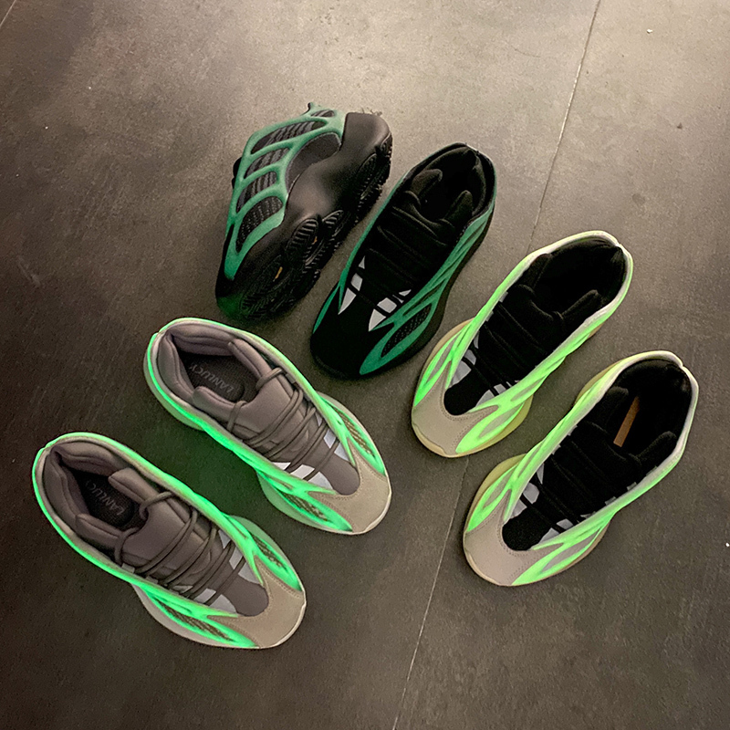 3 Colour In Lighted Sexemara 700 Luminous Skeleton Shoes Running Shoes Kanye West Women Sports Sneakers Noctilucent