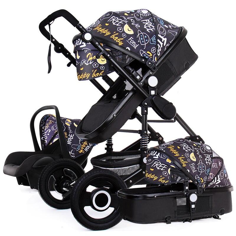 Высокая Ландшафтная детская коляска 3 в 1, Роскошная детская коляска 3 в 1 с автомобильным сиденьем, двусторонняя детская коляска, автокресло и коляска Четырехколесная коляска      АлиЭкспресс